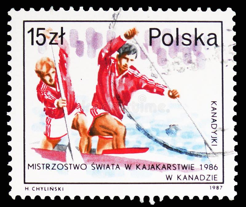 Dobles Canoeing, éxito del serie polaco de los atletas, circa 1987 fotos de archivo libres de regalías