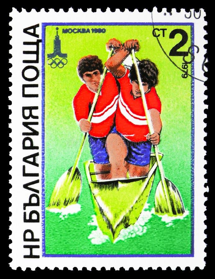 Dobles Canoeing, Olimpiadas de verano, Moscú: Serie de Watersports, circa 1979 imagen de archivo libre de regalías