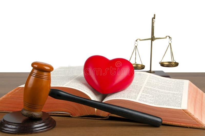 Dobniak, legalny kod, serce i waży sprawiedliwość zdjęcia stock
