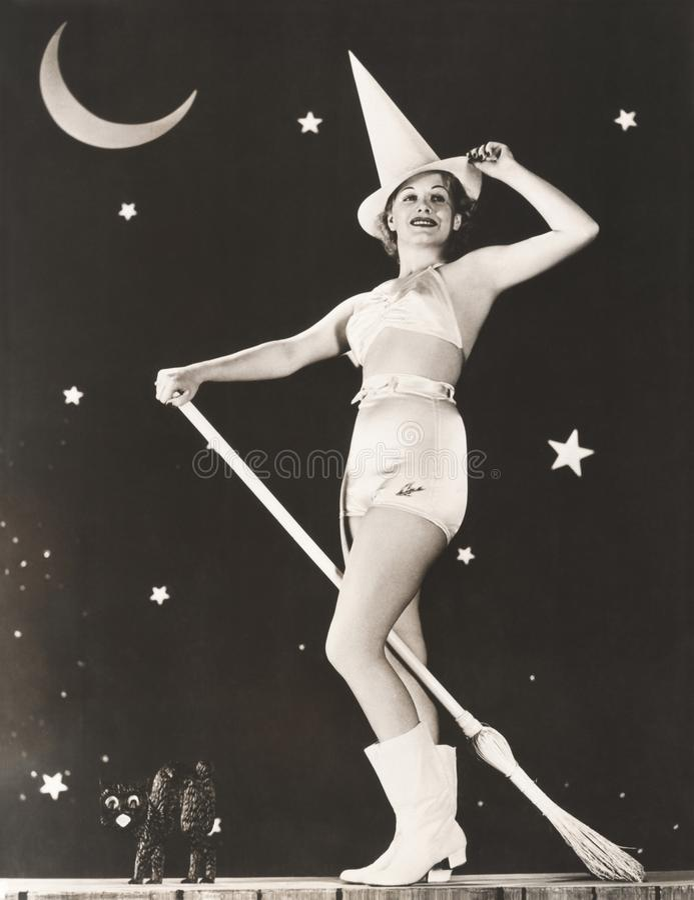 Dobra czarownica na jej broomstick zdjęcia stock