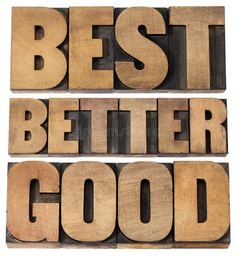 Dobra, lepszy, najlepszy typografia, obraz royalty free