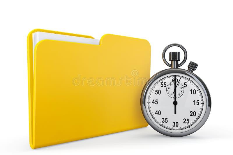 Dobrador amarelo com cronômetro ilustração royalty free