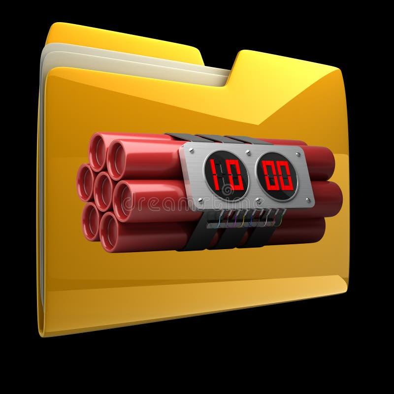 Dobrador amarelo com despertador dos explosivos ilustração do vetor