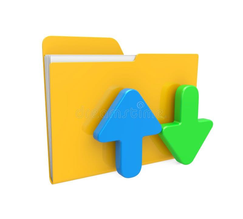 Dobrador com ícone da transferência da transferência de arquivo pela rede ilustração do vetor