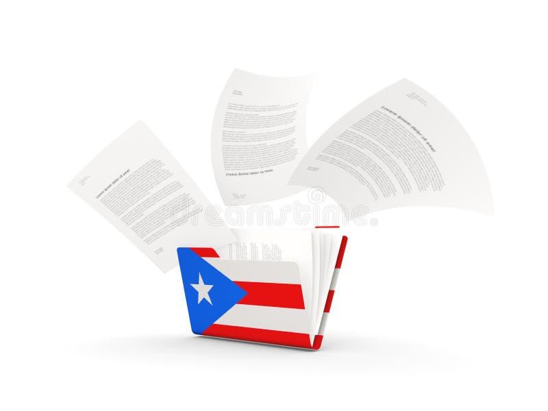 Dobrador com a bandeira de Puerto Rico ilustração do vetor