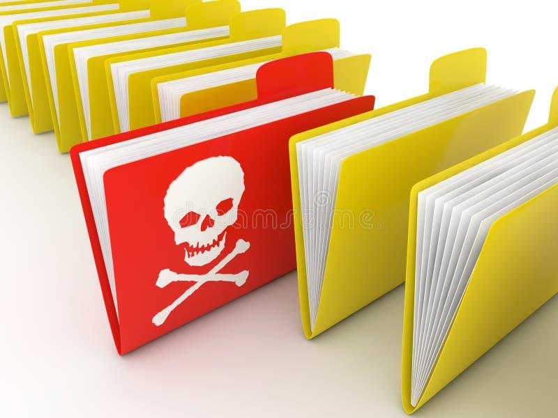Dobrador de arquivo contaminado pelo vírus de computador ilustração royalty free