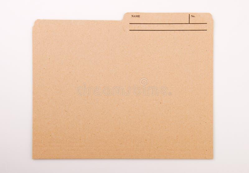 Dobrador de arquivo de Brown com etiqueta imagem de stock