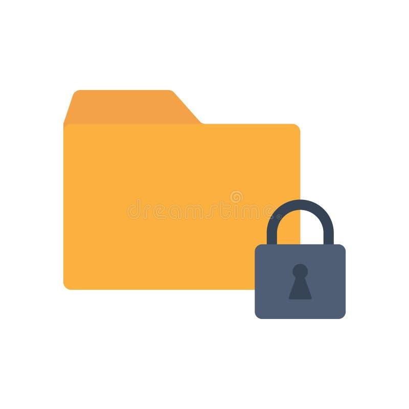 Dobrador fechado do ícone liso com cadeado imagens de stock