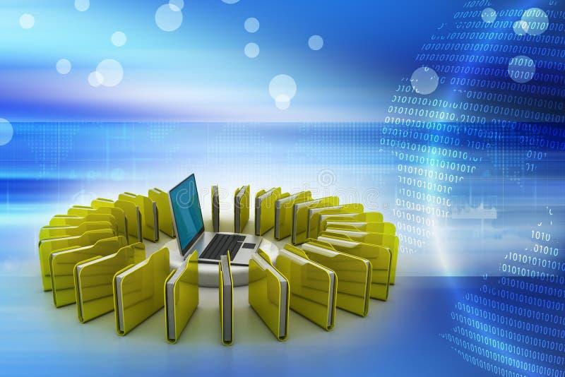 Dobradores conectados a um computador ilustração stock