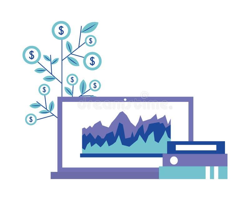 Dobradores do laptop do escrit?rio e moedas da planta financeiras ilustração do vetor