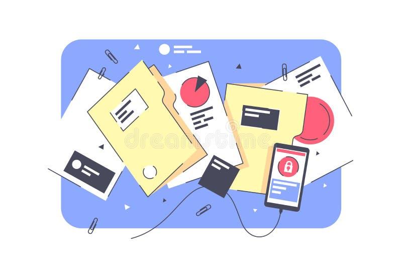 Dobradores isolados lisos, documentos com projeto e gráfico ilustração do vetor