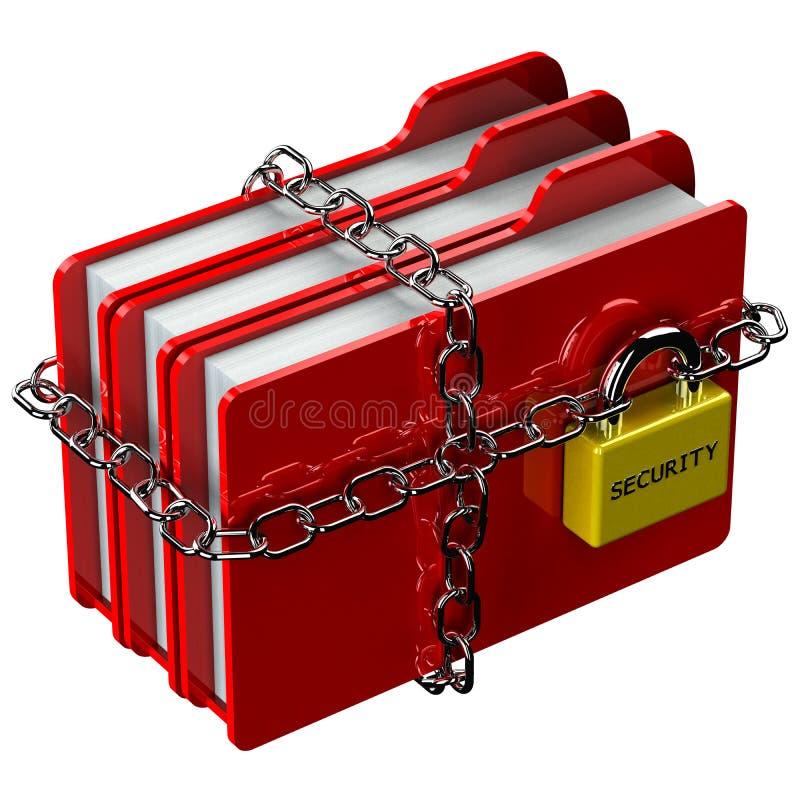 Dobradores vermelhos com a corrente com o cadeado com segurança da palavra ilustração do vetor