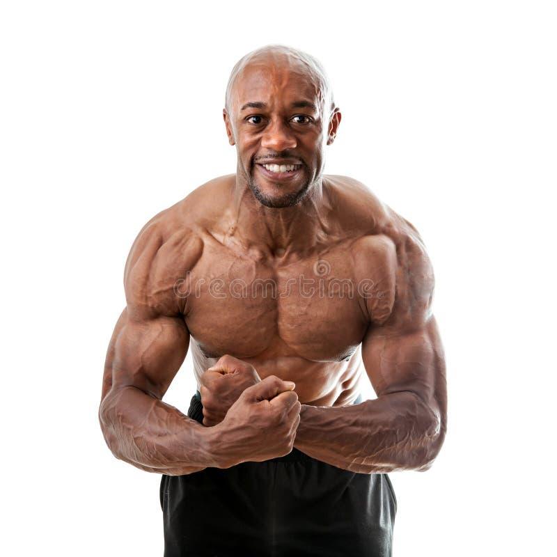 Dobramento muscular do homem fotografia de stock