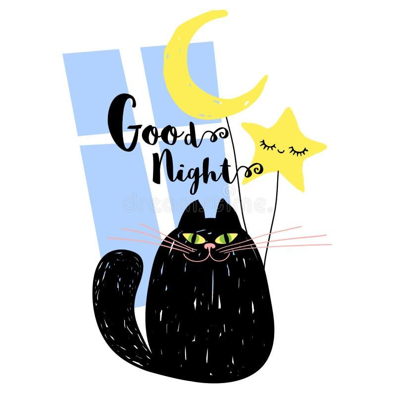 Dobranoc ślicznego uśmiechu czarny kot z księżyc i śliczną gwiazdą Kreśli śmiesznego styl dla karty, pokrywa, sztandar, t koszula royalty ilustracja