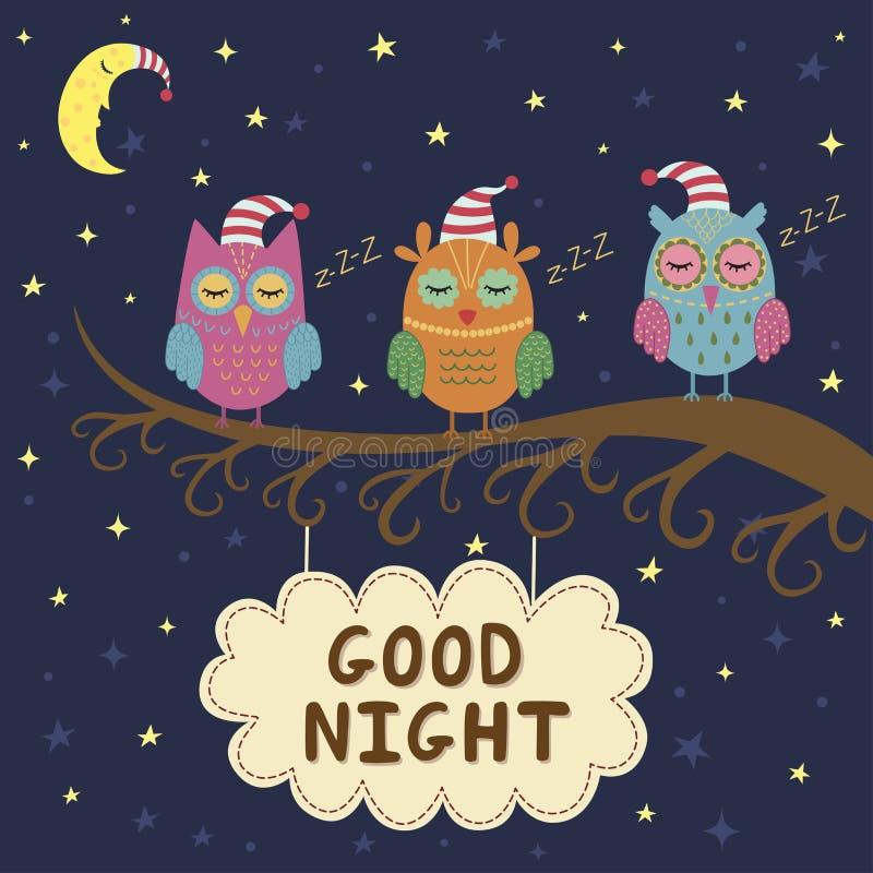 Dobranoc karta z ślicznymi sypialnymi sowami royalty ilustracja