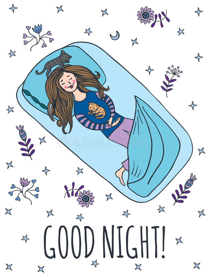 Dobranoc karta z sypialną dziewczyną royalty ilustracja