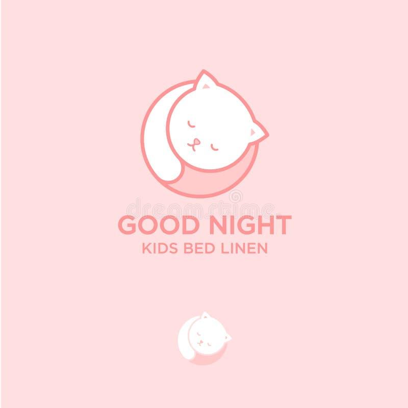 Dobranoc logo Biały kot śpi Łóżkowej pościeli emblemat Dobranoc loga łóżkowa pościel ilustracji