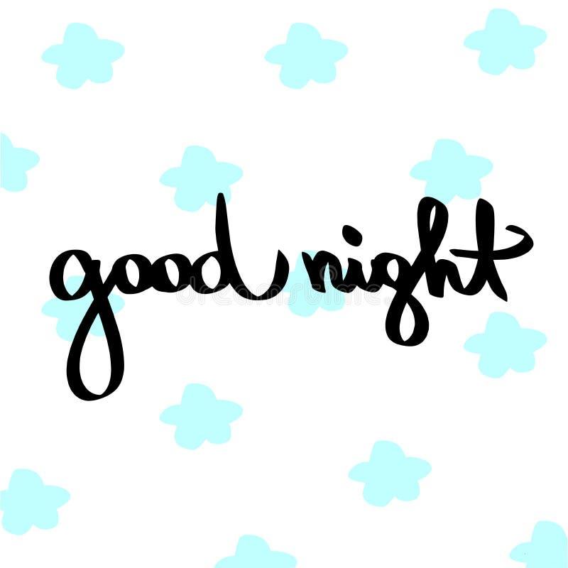 Dobranoc Ręcznie pisany czarny zwrot z błękitnych gwiazd tekstury tłem Wektorowi ilustracji gwiazdy kwiaty odizolowywali białego  ilustracja wektor