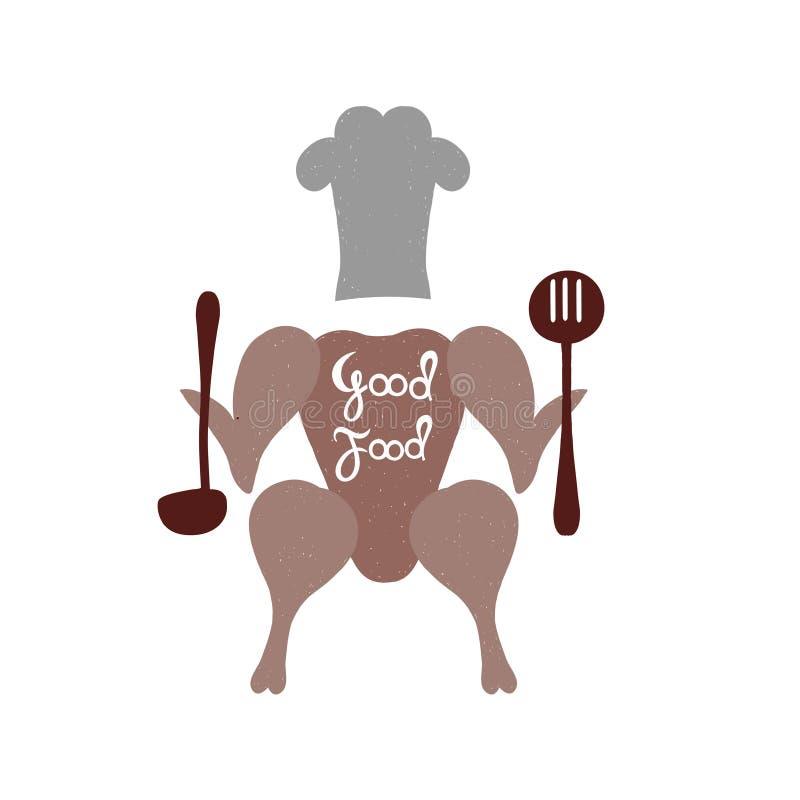 dobre jedzenie Ręki literowanie dla restauracj menu lub logo royalty ilustracja