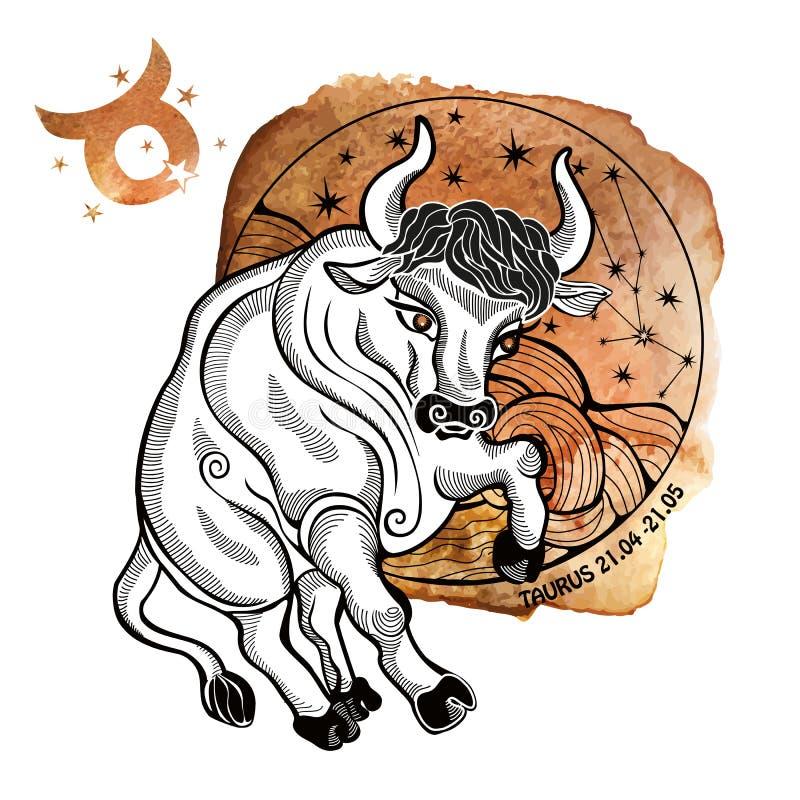 dobre logo łatwiejsze zmieniają kształt koszulę znak t tatuaży prostego taurus zodiak Horoskopu okrąg akwarela ilustracji