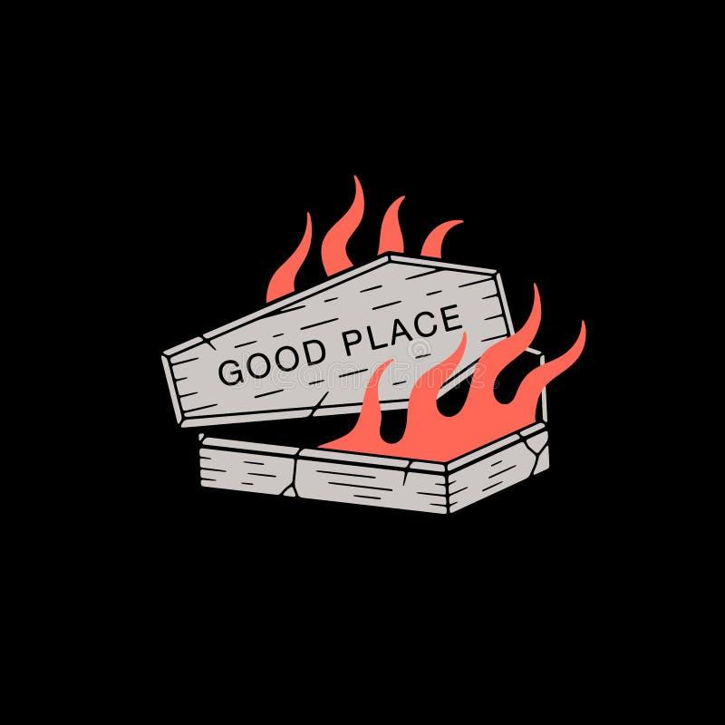 DOBRE MIEJSCE ogień I trumna BARWIMY czerń ilustracji