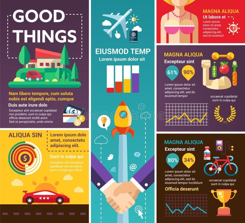 Dobre rzeczy - plakat, broszurka okładkowy szablon ilustracja wektor