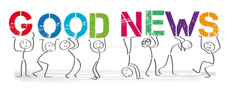 Dobre Wieści - ludzie z dużymi kolorowymi listami ilustracja wektor