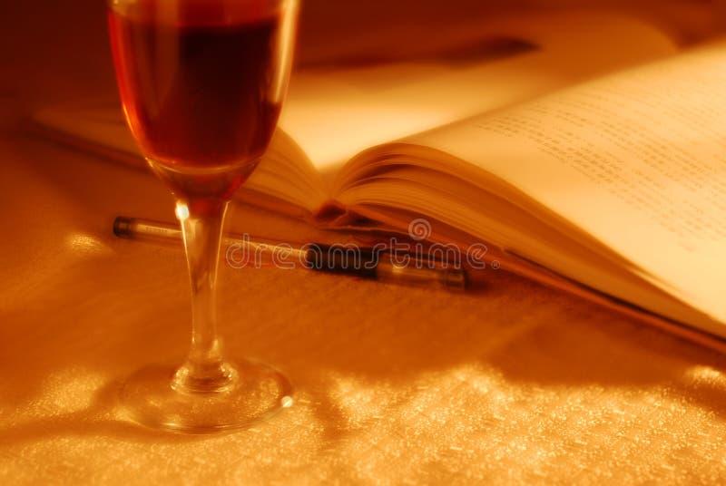 dobre wino długopisów książek obraz stock