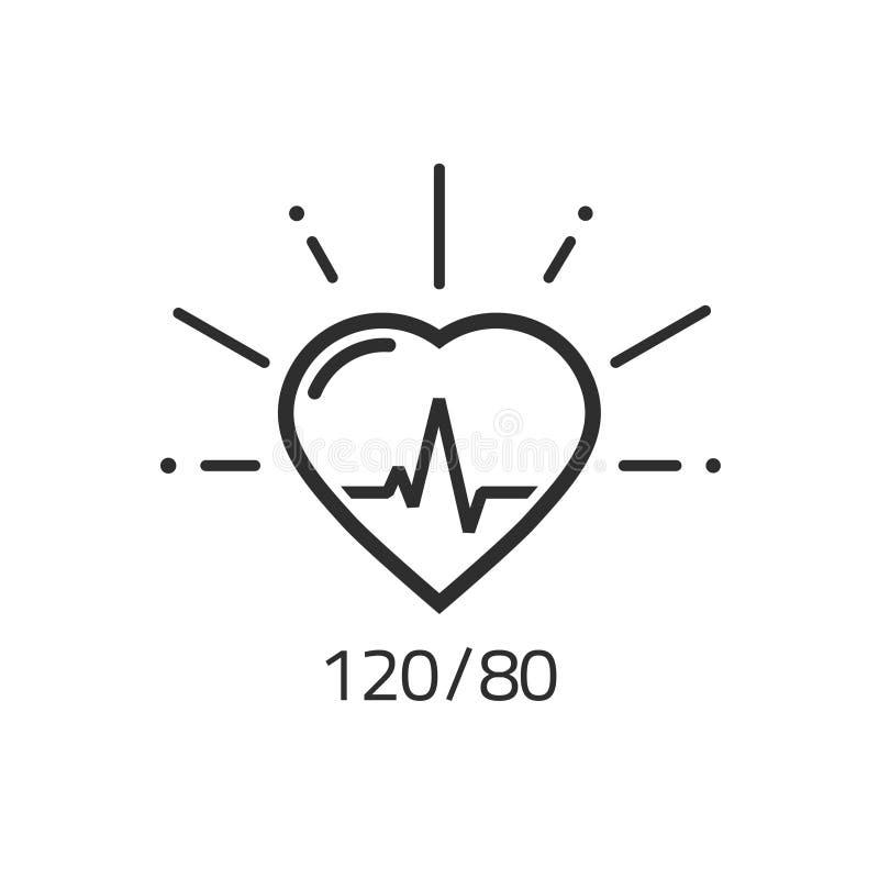 Dobre zdrowie konturu wektorowa ikona, ciśnienie krwi pulsu kierowy kardiogram ilustracja wektor