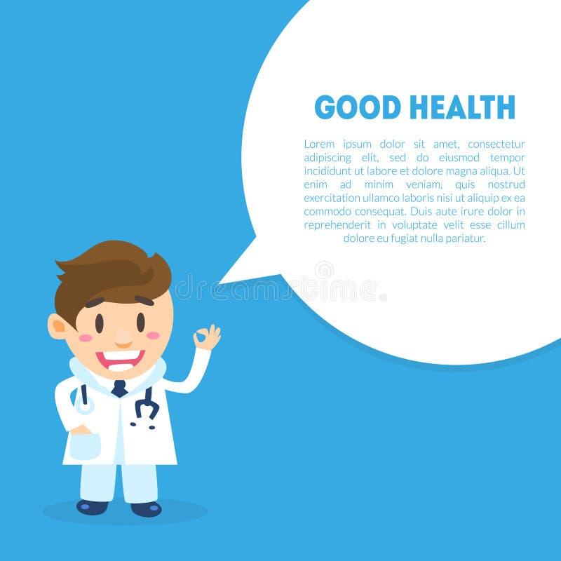 Dobre Zdrowie sztandaru szablon z miejscem dla teksta, samiec lekarki i mowa bąbla, opieki zdrowotnej Online Medyczna konsultacja ilustracji