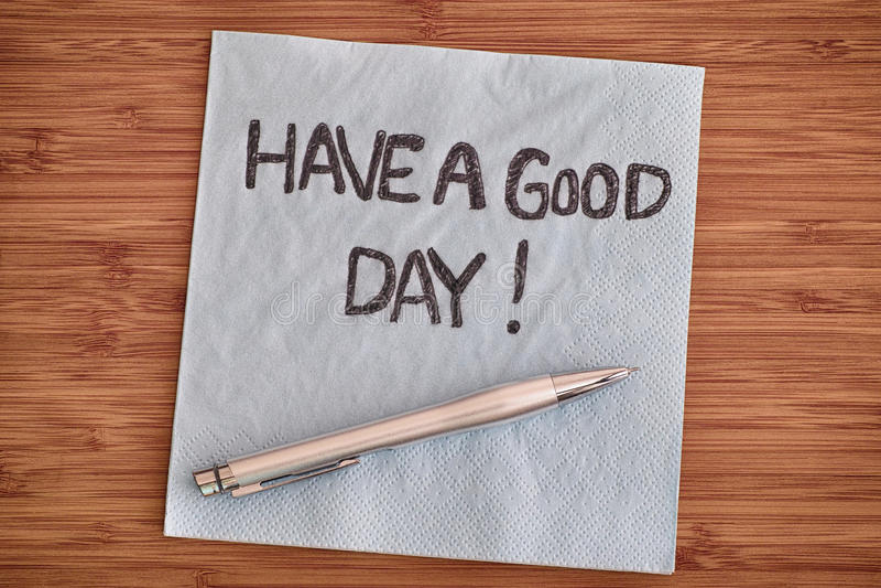 Dobrego dzień! Handwriting na pielusze fotografia stock