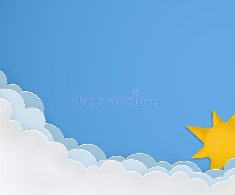 Dobrej pogody układ Słoneczny dzień z słońcem i chmurami Papierowy sztuka projekt ilustracji