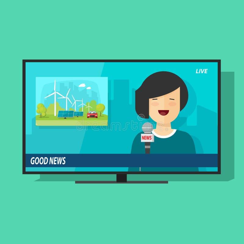 Dobrej TV wiadomości wektorowa ilustracja, płaski kreskówki telewizi studio ilustracja wektor