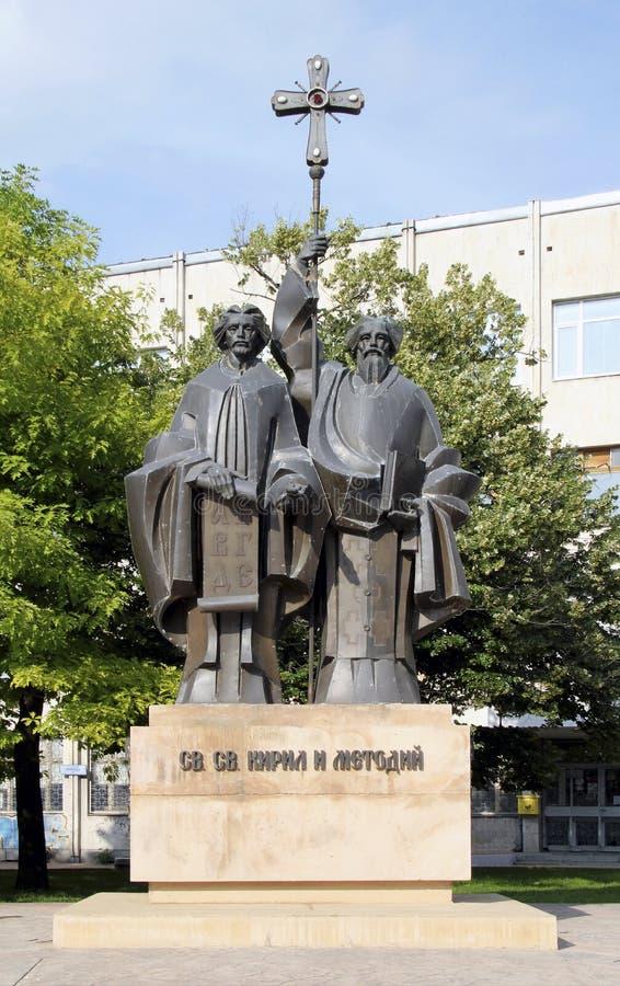 DOBRICH, BUŁGARIA - OKOŁO CZERWIEC 2018: Zabytek Saints Cyril i Methodius w Dobrich, Bułgaria fotografia stock