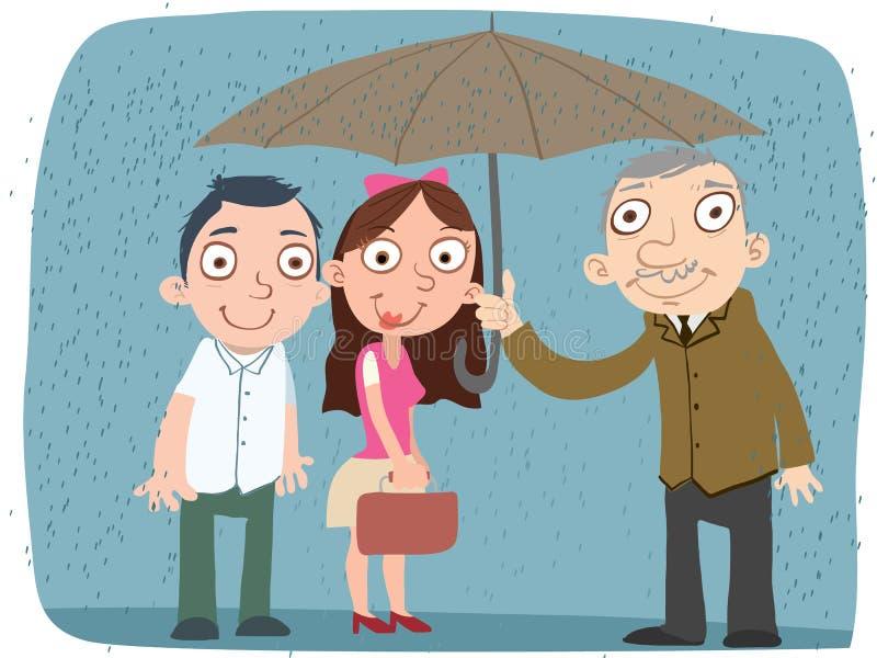 Dobroć mężczyzna część jego parasol ilustracji