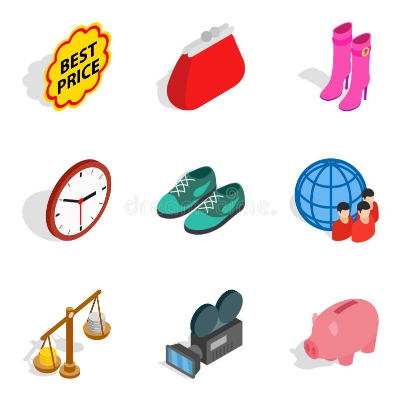 Dobrobyt gospodarczy ikony ustawiać, isometric styl ilustracji