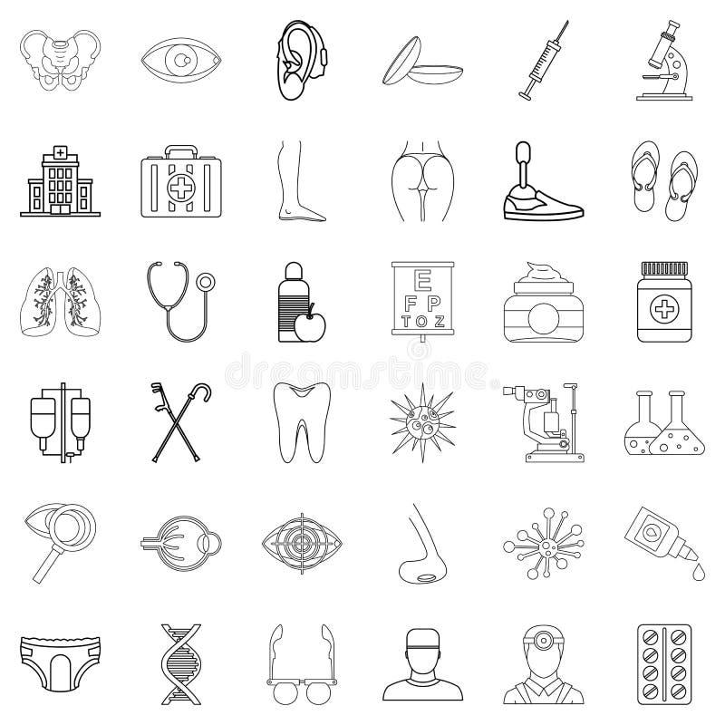 Dobrobyt ikony ustawiać, konturu styl ilustracja wektor