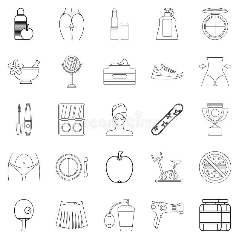 Dobrobyt ikony ustawiać, konturu styl royalty ilustracja