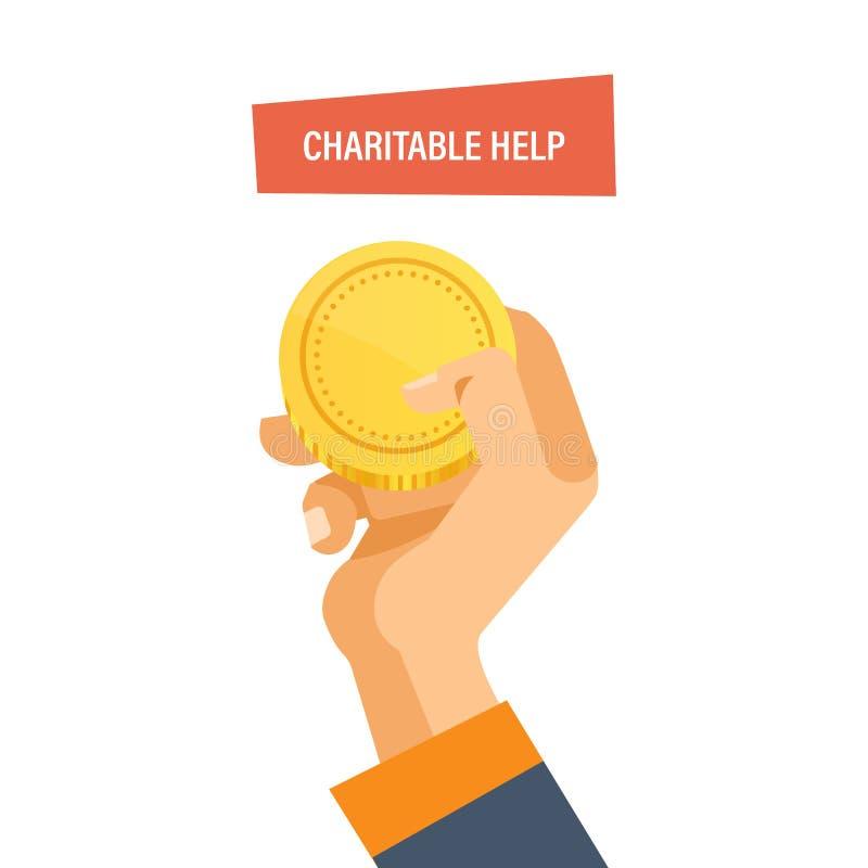 Dobroczynna pomoc, darowizna Mężczyzna utrzymania złocista moneta w jej ręce ilustracji