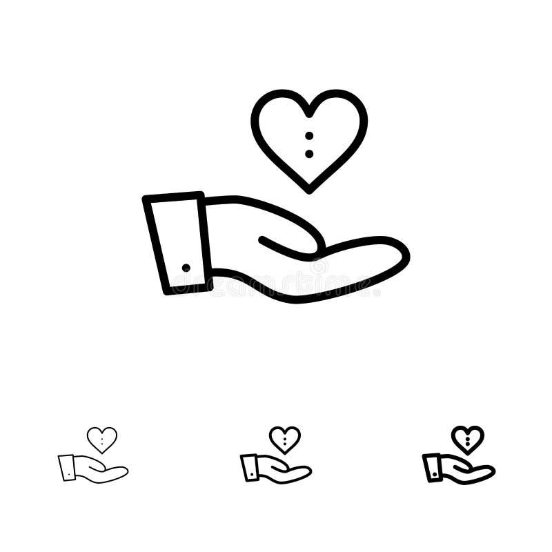 Dobroczynność, darowizna, Daje, ręka, Kocha Śmiałego i cienkiego czerni linii ikony set ilustracja wektor