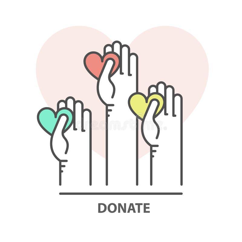 Dobroczynność, darowizna i gromadzi fundusze pojęcie, - ochotnicza pomocna dłoń z sercem ilustracji