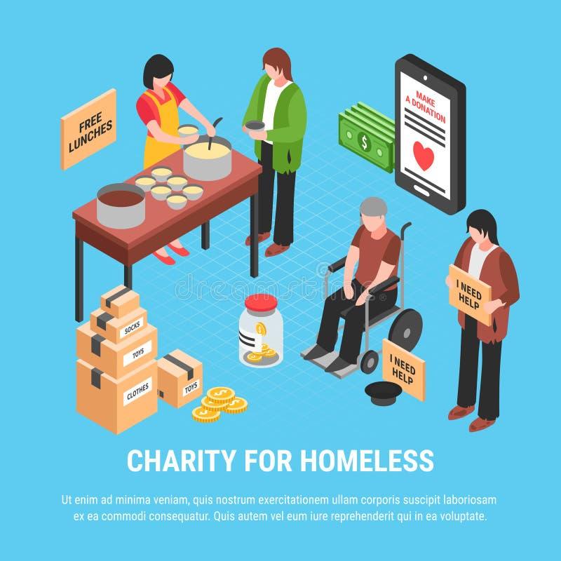 Dobroczynność Dla Bezdomnego Isometric plakata ilustracja wektor