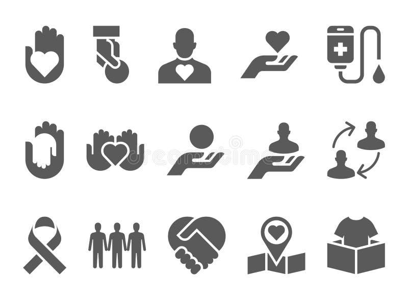 Dobroczynność i darowizny czarny ikony ilustracji