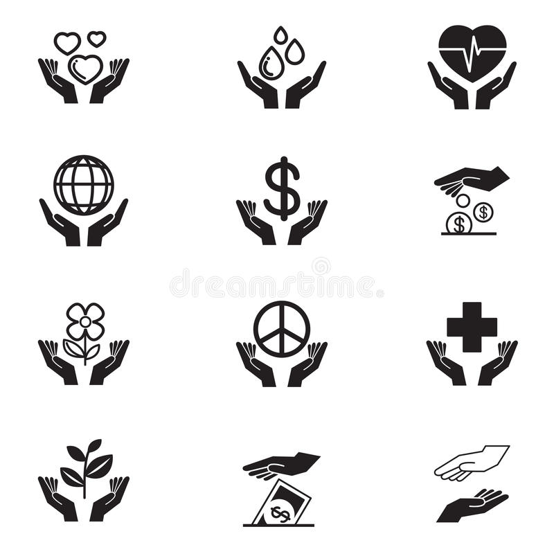 Dobroczynność ikony ustawiać royalty ilustracja