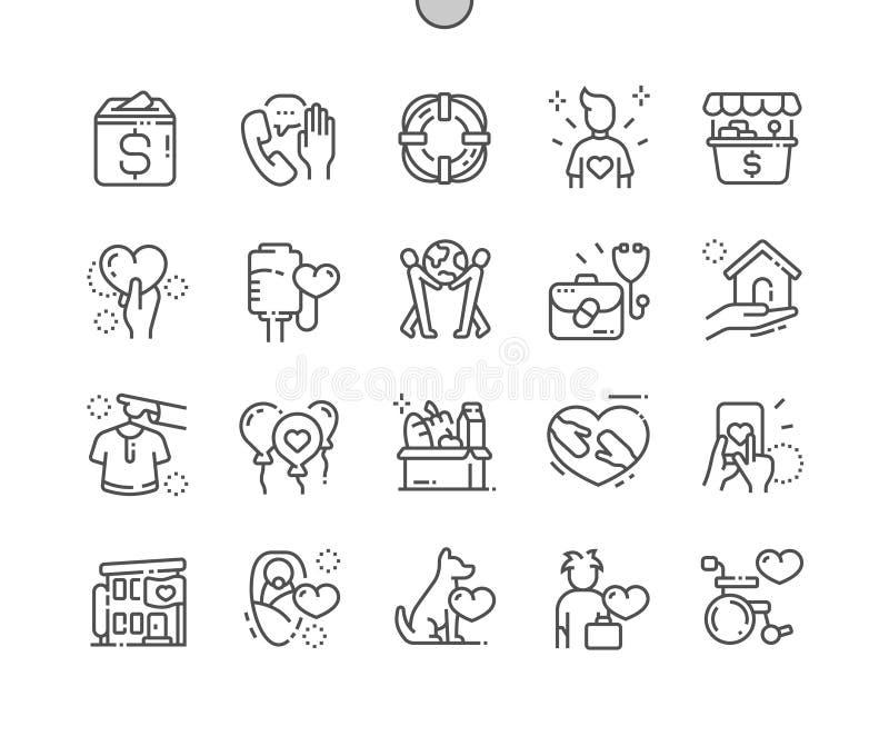 Dobroczynność Wykonywać ręcznie wektor Cienkie Kreskowe ikony ilustracja wektor