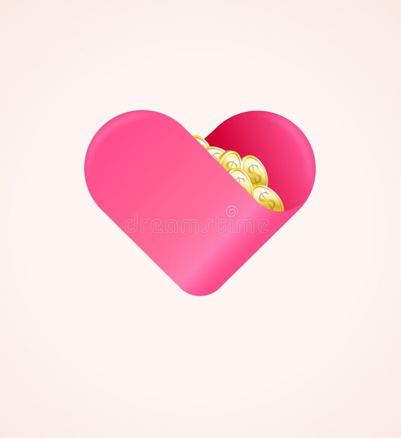 Dobroczynności darowizna Pojęcie Robić z miłością Pieniężny prezent ilustracja wektor