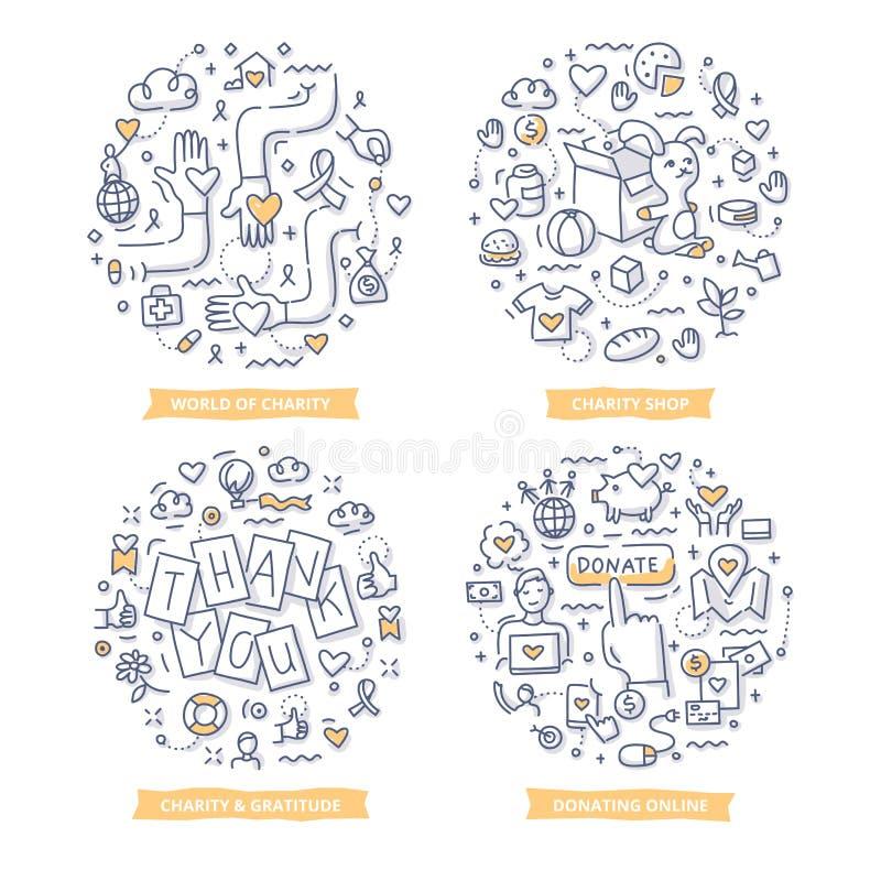 Dobroczynności & darowizny Doodle ilustracje royalty ilustracja