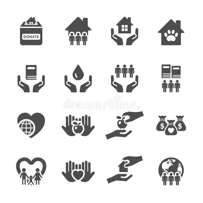 Dobroczynności i darowizny ikona ustawia 2, wektor eps10 royalty ilustracja