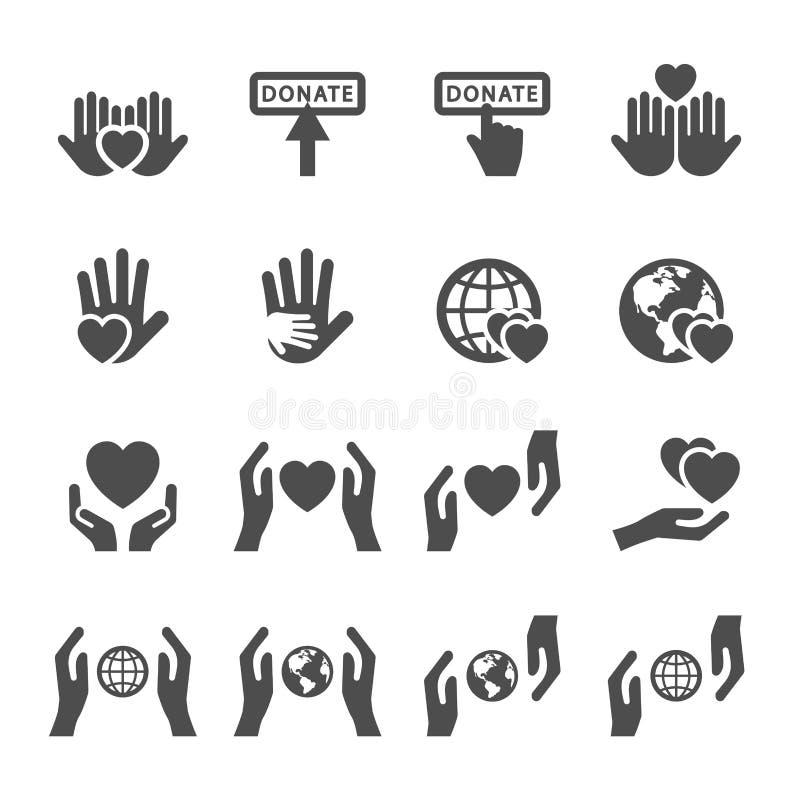 Dobroczynności i darowizny ikona ustawia 4, wektor eps10 ilustracja wektor