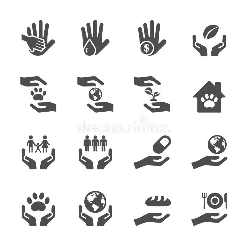 Dobroczynności i darowizny ikona ustawia 7, wektor eps10 ilustracji